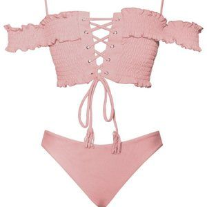 PALAWAN OFF SHOULDER LACE UP PINK TWO PIECE SWIM